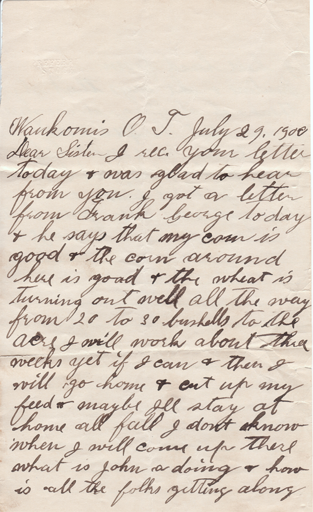July 29, 1900 George to Freeta Page 1