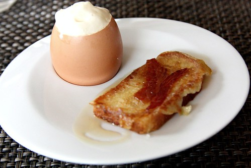 French toast; Egg with Brioche, Bacon Custard, Maple Foam