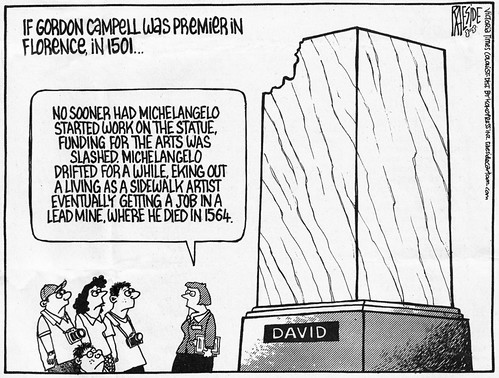 Cartoon by Raeside on the BC arts funding cuts