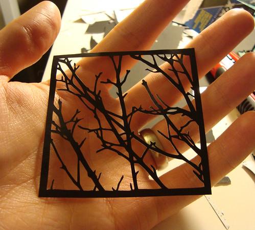tree silhouette, nature silhouette, handcut art, joe bagley