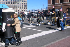 Snagging a hug from a life-sized Guiness in Hoboken at the parade