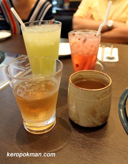 Ginseng Tea, Omija (ice), Green Tea (ice), Roasted Barley (ice)