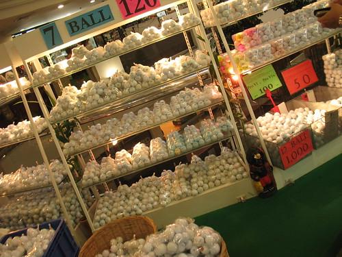 hundreds of golf balls