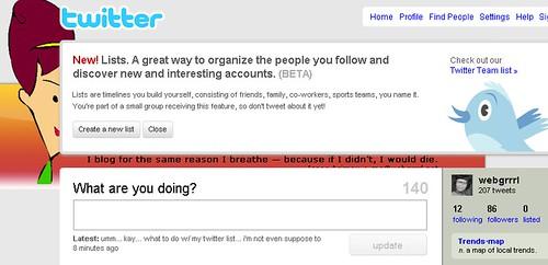 Screen shot of Twitter List notice