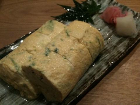 大阪京橋「喜や」だしまき卵、あごだしで生のり入り、650円