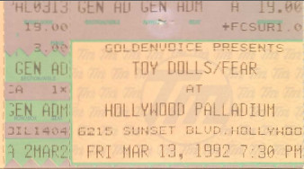 Toy Dolls, Hollywood Palladium