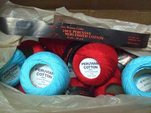 Des Montes Crafts Peruvian Cotton in turquoise and red