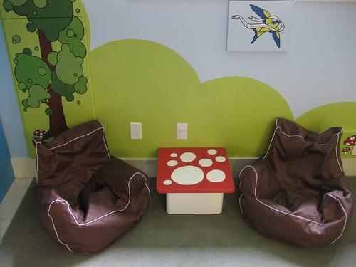 Mushroom Table & Beanbag Chairs