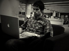 Testing Oldcamera app: my brooding friend Matt