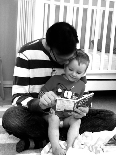 reading books with daddy