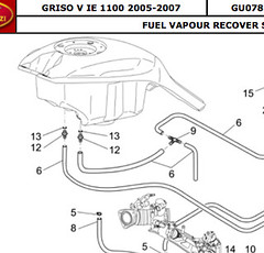 Griso fuel tank fittings: 1100 and 1200 differences