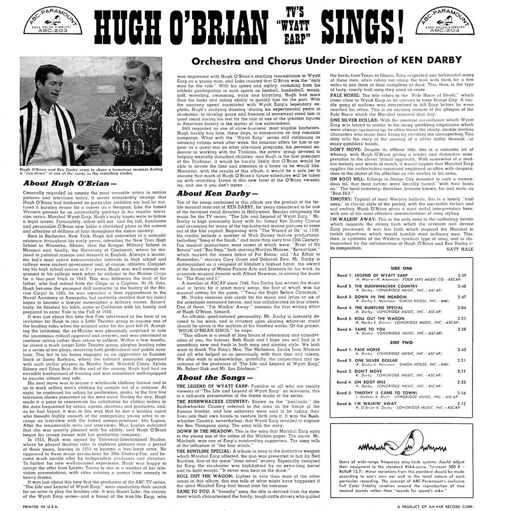 Hugh O'Brian - TV's Wyatt Earp Sings b