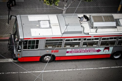 No, that's not a dead body on top of that bus! It's a MUNI closet.