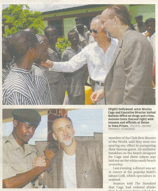 Nicholas Cage on a two day Mombasa visit