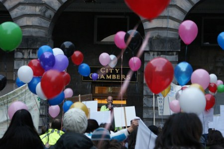 A protest outside Edinburgh City Chambers