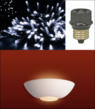 Christmas LED Light String + socket adapter + wall lamp = LED lighting all year round