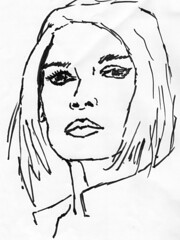Brigitte Bardot, drawn on April 13, 2010 (marker sketch)