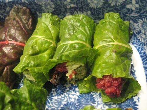 Pecan & Mushroom Stuffed Chard Rolls