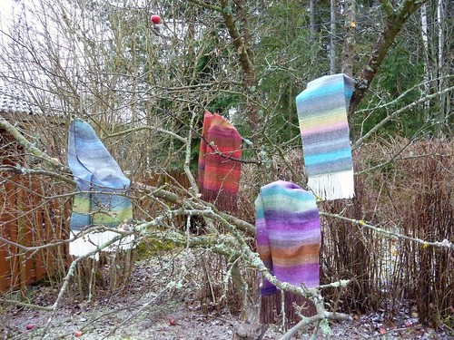 Woven Noro scarves up an apple tree