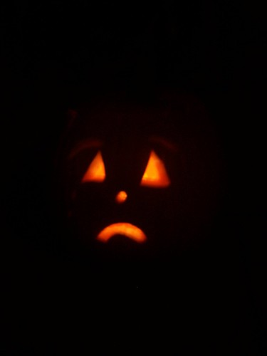 Hs old school sad pumpkin- look close there are eyebrows and a tear!
