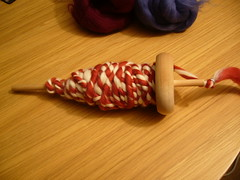 Candy Cane Yarn : First attempt at hand spinning