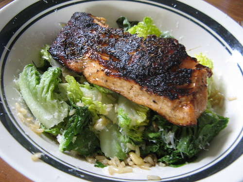 salmon with rice salad