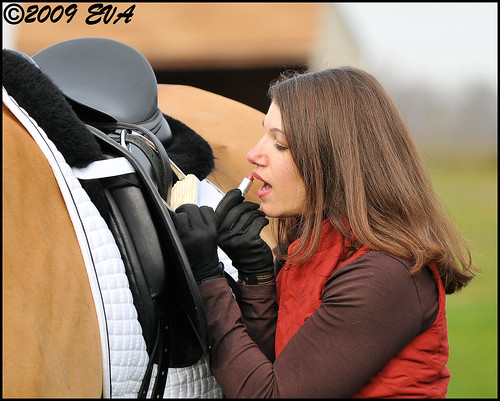 Barn Beauty Tip #39: Your Stirrup Iron can Double as a Mirror for a Lipstick Touch-Up