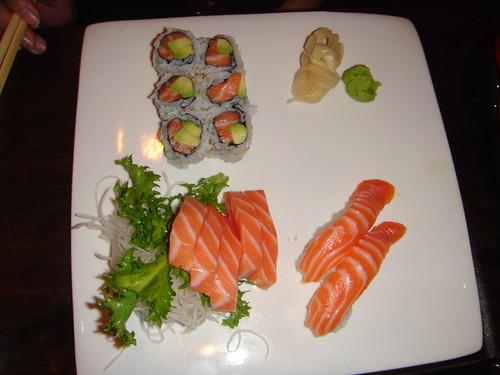 Kumo - Salmon Sashimi, Salmon Sushi, and Alaska Roll