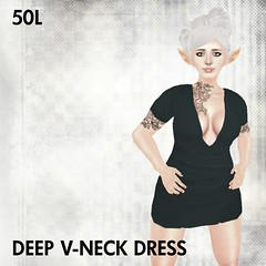 This Is A Fawn - Deep V-Neck Dress