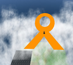 Orange Ribbon Sky Banner