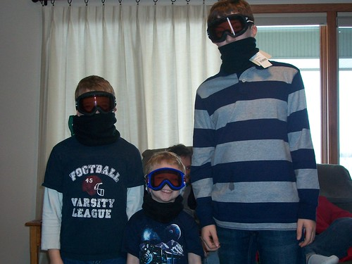 the boys in their new ski gear