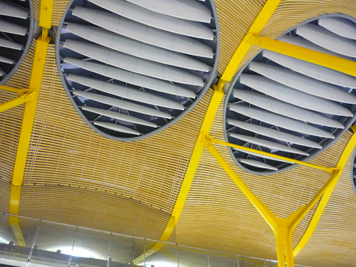 Madrid airport ceiling in yellow
