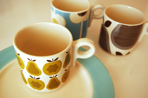 Dishes + Orla Kiely mugs.