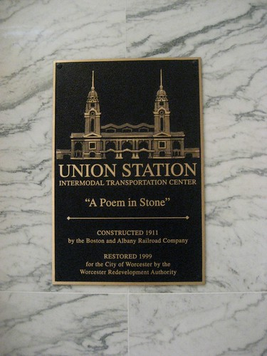 Union Station Worcester MA Restoration Plaque