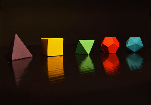 Papercraft platonic solid models