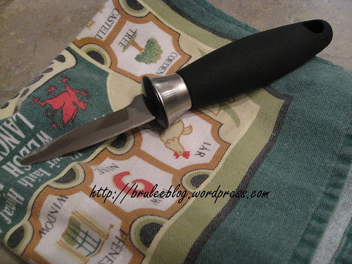 oyster knife and towel
