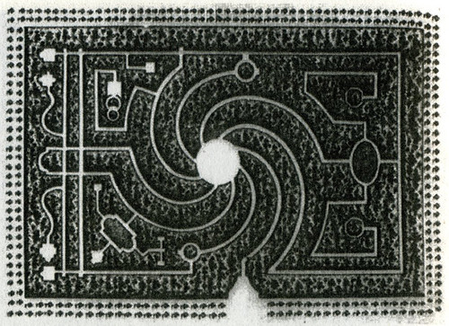 Propuesta de laberinto de Dezallier d'Argenville (La théorie et la practique du Jardinage, 1772)