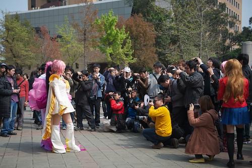 A crowd of photographers in Taipei Taiwan