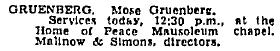 Moses Gruenberg Obit-July 28, 1942