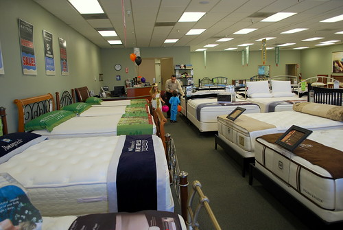 trick or treating in a mattress store