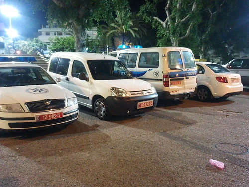 Israel Police Parking Illegally at Dizingeoff Square