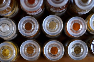 spice bottles, from the top