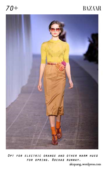 Opt for electric orange and other warm hues for spring. Rochas runway.
