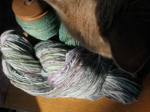 mel inspects the fresh yarn