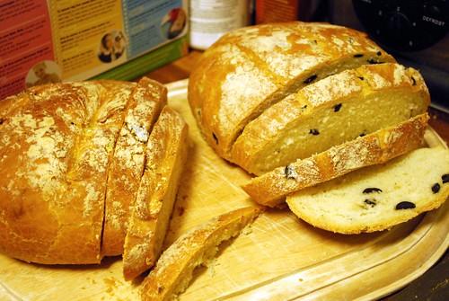 Olive bread + Sun dried tomato bread