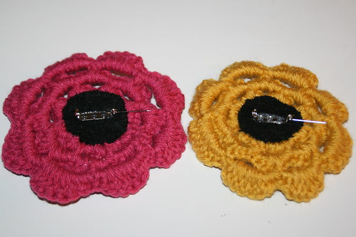 Crochet Rose Pins
