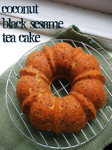 coconut black sesame tea cake