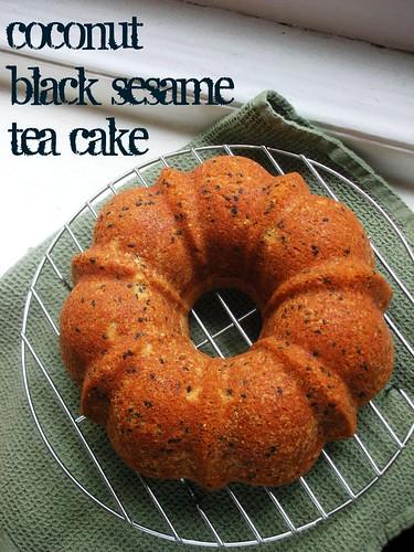coconut black sesame tea cake