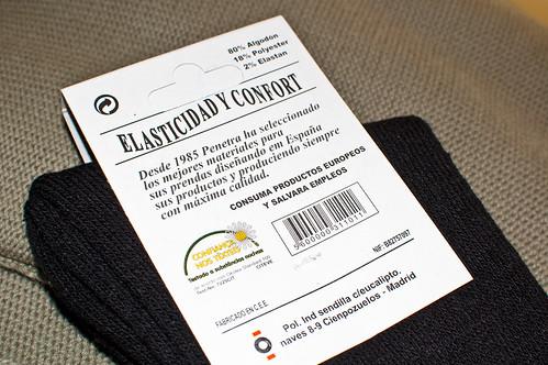 Calcetines Penetra (reverso de la etiqueta)