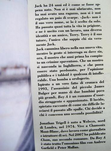 Jonathan Trigell, Boy A, ISBN 2009, grafica: Alice Beniero, p. 1 (part.)